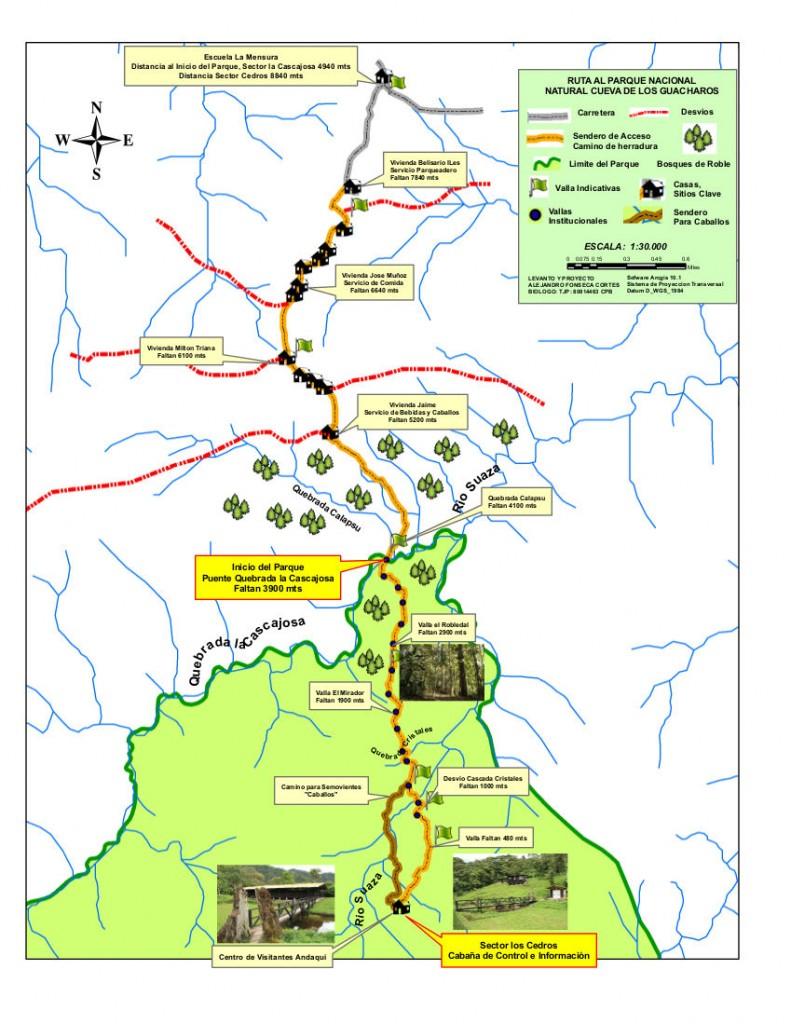 Mapa Acceso PNN Cueva de los Guacharos desde Palestina