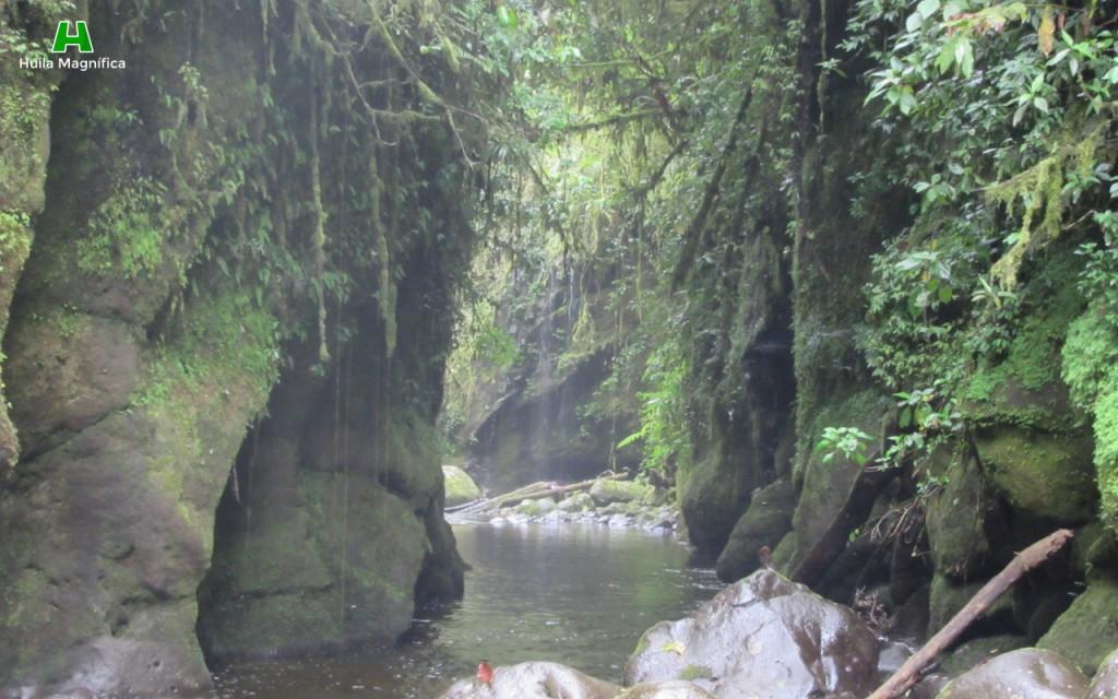 Aguas tranquilas del río Mulales después del salto