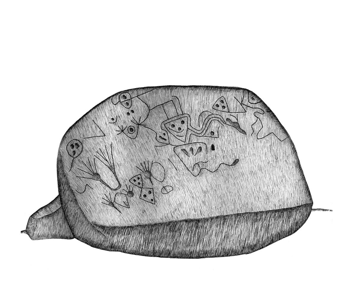"""Piedra Grabada con """"Manos"""" y """"Serpientes"""" - Fuente: http://puebloescultor.org/bibliotecaenpiedra/as1"""