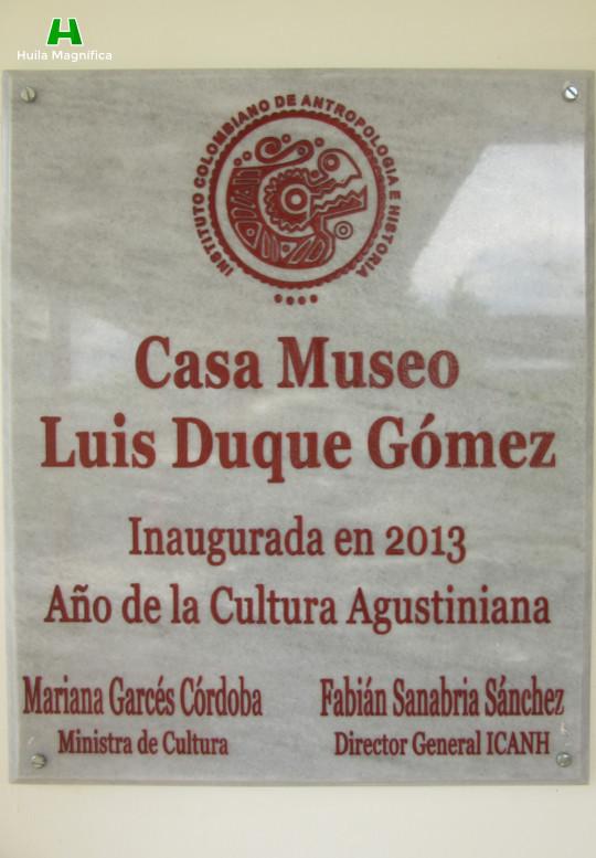 Placa de la Casa Museo Luis Duque Gómez