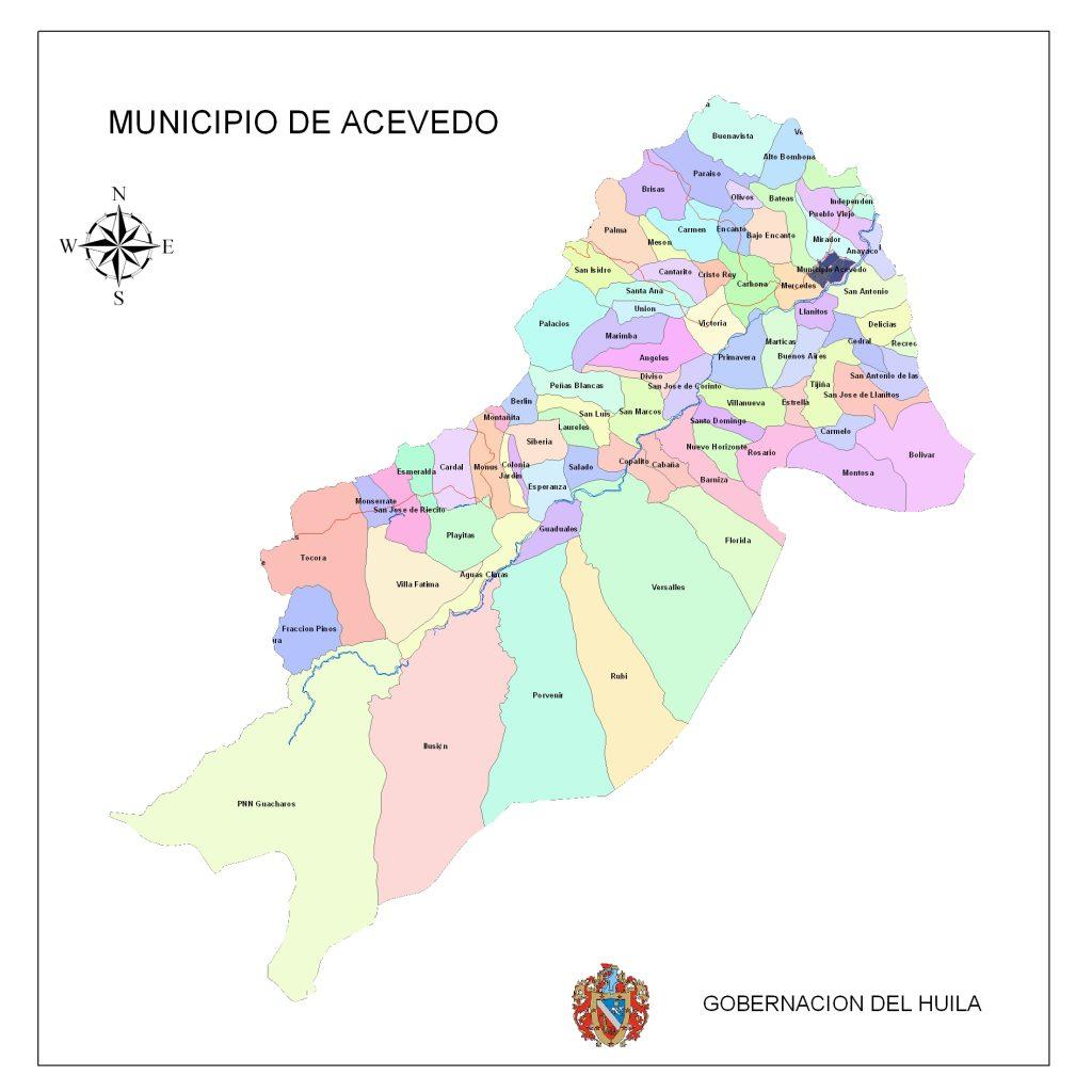 Mapa: Veredas del Municipio de Acevedo