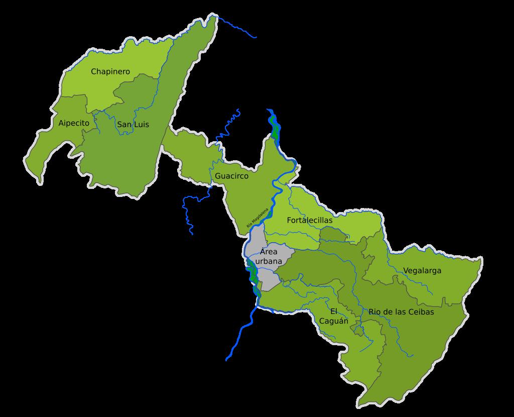 Corregimientos de Neiva - Creado por SajoR - 2011 - Licencia Creative Commons CC-BY-SA-2.5