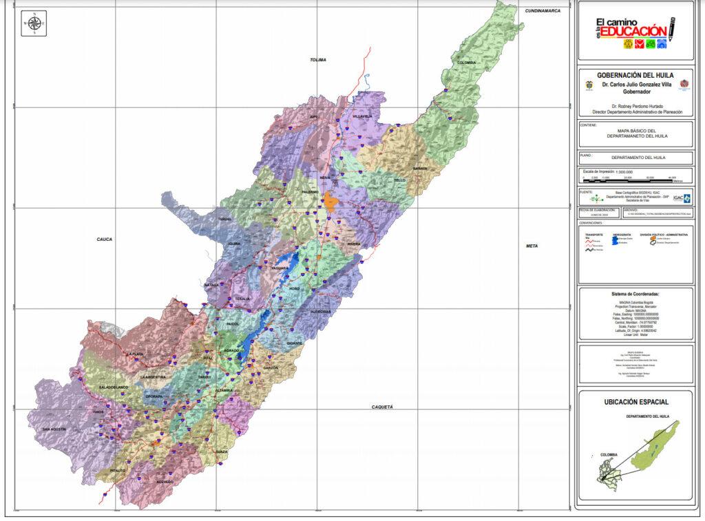 Mapa Básico del Departamento del Huila con Veredas - Creado en Junio de 2019