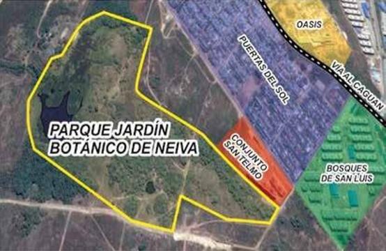 Figura 1. Ubicación del Parque Jardín Botánico de Neiva, tomada y modificada de Google Maps 2017.