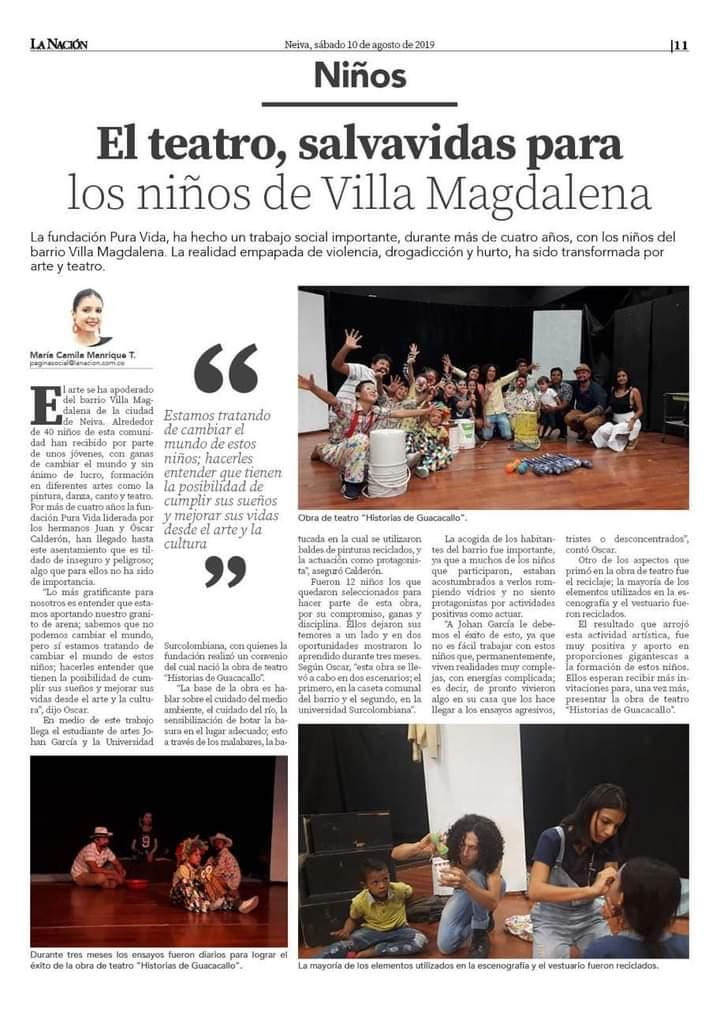 El teatro, salvavidas para los niños de Villa Magdalena