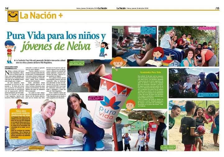 Pura Vida para los niños y jóvenes de Neiva