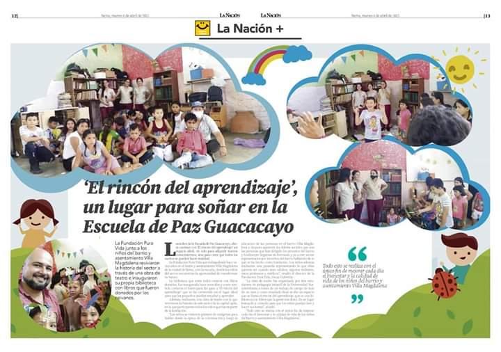 'El rincón del aprendizaje', un lugar para soñar en la Escuela de Paz Guacacayo