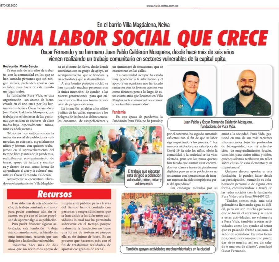 Una labor social que crece - Oscar Fernando Calderón Mosquera y Juan Pablo Calderón Mosquera